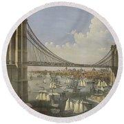The Great East River Suspension Bridge Round Beach Towel