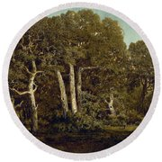 The Great Oaks Of Old Bas-breau Round Beach Towel