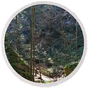 The Green Forest Round Beach Towel