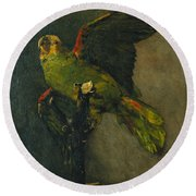 The Green Parrot Round Beach Towel