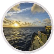 The Guided-missile Cruiser Uss Monterey Round Beach Towel