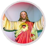 The Hands Of Christ Round Beach Towel