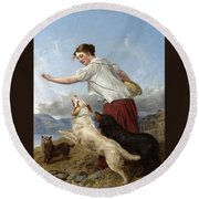 The Highland Lassie Round Beach Towel