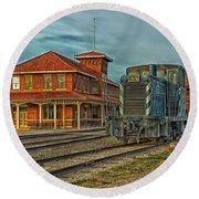 The Historic Santa Fe Railroad Station Round Beach Towel