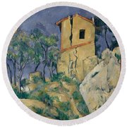The House With The Cracked Walls Round Beach Towel