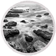 The Jagged Rocks And Cliffs Of Montana De Oro State Park Round Beach Towel