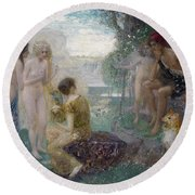 The Judgement Of Paris Round Beach Towel