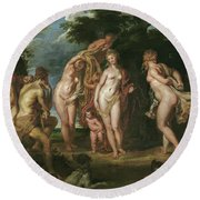 The Judgment Of Paris Round Beach Towel