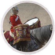 The Kettledrums Of Household Cavalry Round Beach Towel by Andrew Chittock