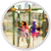 The Kids At The Playground During Day In The City Of Los Angeles Round Beach Towel