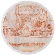 The Last Supper, After Leonardo Da Vinci Round Beach Towel