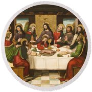 The Last Supper Round Beach Towel by Master of Portillo