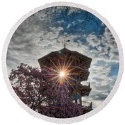 The Light Through The Pagoda Round Beach Towel