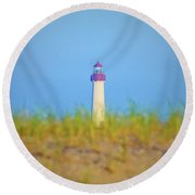 The Lighthouse At Cape May Round Beach Towel