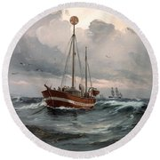 The Lightship At Skagen Reef Round Beach Towel
