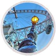 The London Eye And Street Lamp Round Beach Towel