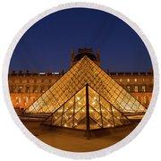 The Louvre Art Museum Round Beach Towel