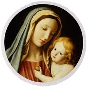 The Madonna And Child Round Beach Towel