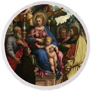 The Madonna And Child With Angels Saints And A Donor Round Beach Towel