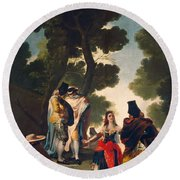 The Maja And The Cloaked Men, Or A Walk Through Andalusia Round Beach Towel