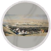 The Meadow Of San Isidro Round Beach Towel