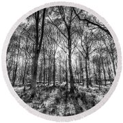 The Monochrome Forest Round Beach Towel