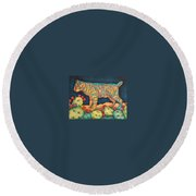 The Moon The Mountains Cacti A Cat Round Beach Towel