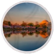 The Morning Glow Round Beach Towel