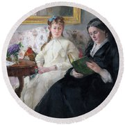 The Mother And Sister Of The Artist Round Beach Towel