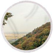 The Mountain View At The Yoro Waterfall In Gifu, Japan, November Round Beach Towel