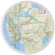 The New York City Pubway Map Round Beach Towel