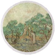 The Olive Orchard, 1889 Round Beach Towel