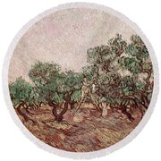 The Olive Pickers Round Beach Towel