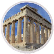 The Parthenon Acropolis Athens Greece Round Beach Towel