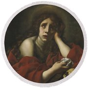 The Penitent Mary Magdalene Round Beach Towel