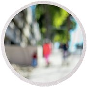 The People Walking On The Street During Day In The City Of Los A Round Beach Towel
