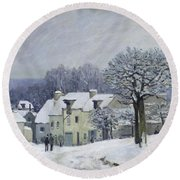 The Place Du Chenil At Marly Le Roi Round Beach Towel by Alfred Sisley