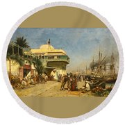 The Port Of Algiers Round Beach Towel