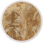 The Prophets Hosea And Jonah Round Beach Towel