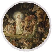 The Quarrel Of Oberon And Titania Round Beach Towel