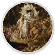 The Reconciliation Of Oberon And Titania Round Beach Towel