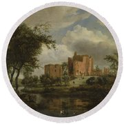 The Ruins Of Brederode Castle Round Beach Towel
