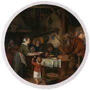 The Satyr And The Peasant Family Round Beach Towel