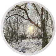 The Snow Forest Art Round Beach Towel
