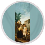 The Soldier And The Lady Round Beach Towel