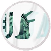 The Statue Of Liberty At New York City  Round Beach Towel