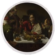 The Supper At Emmaus Round Beach Towel