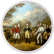 The Surrender Of General Burgoyne Round Beach Towel by War Is Hell Store