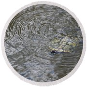 The Swimming Turtle Round Beach Towel