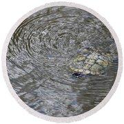 The Swimming Turtle Round Beach Towel